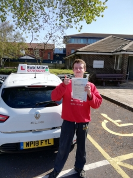Many congratulations to a delighted Seb Gwyn-Williams of Langford on an excellent drive and well deserved 1st time pass at Weston-super-Mare on May 24th 2019